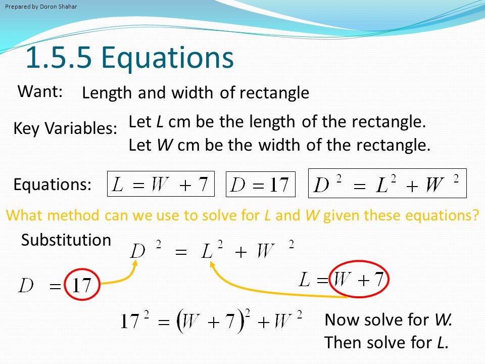 1.5.5 Equations Equations: Want: Key Variables: Length and width of rectangle What method can we use to solve for L and W given these equations? Subst