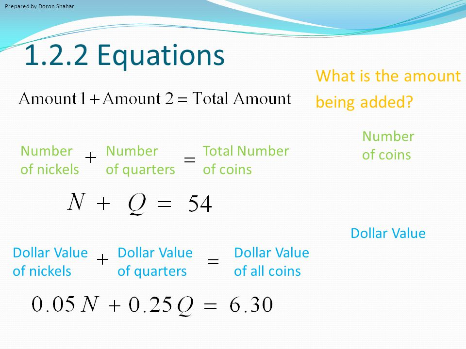 1.2.2 Equations Number of nickels Number of quarters Total Number of coins Dollar Value of nickels Dollar Value of quarters Dollar Value of all coins