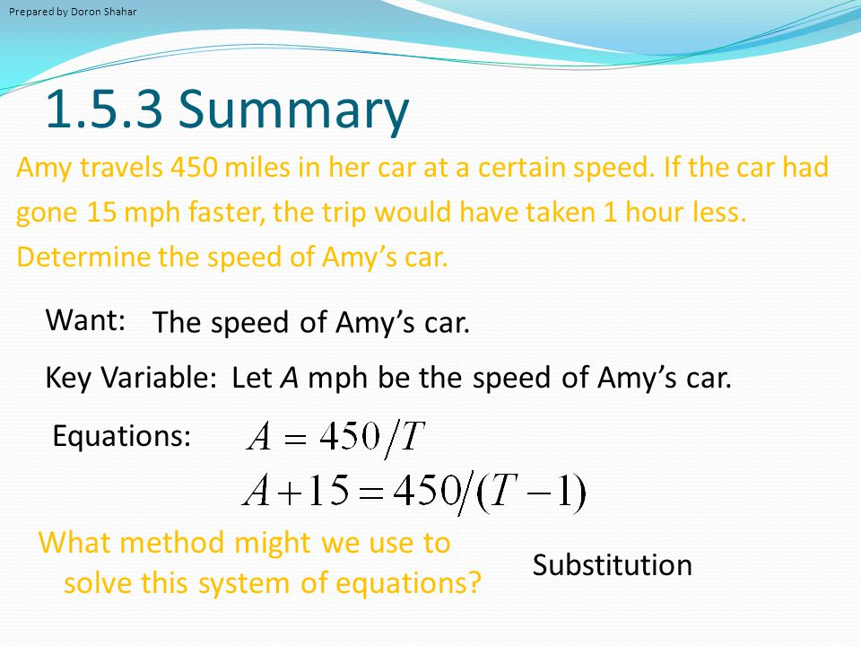 1.5.3 Summary Amy travels 450 miles in her car at a certain speed. If the car had gone 15 mph faster, the trip would have taken 1 hour less. Determine