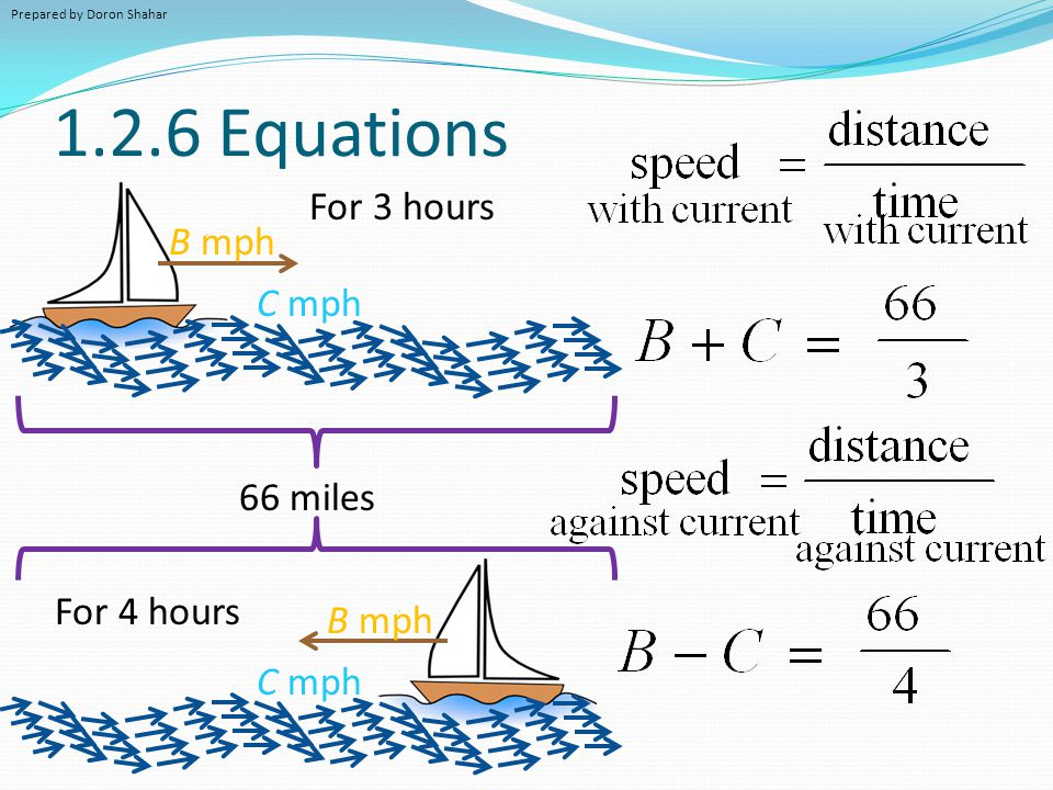 1.2.6 Equations B mph C mph B mph C mph For 3 hours For 4 hours 66 miles Prepared by Doron Shahar