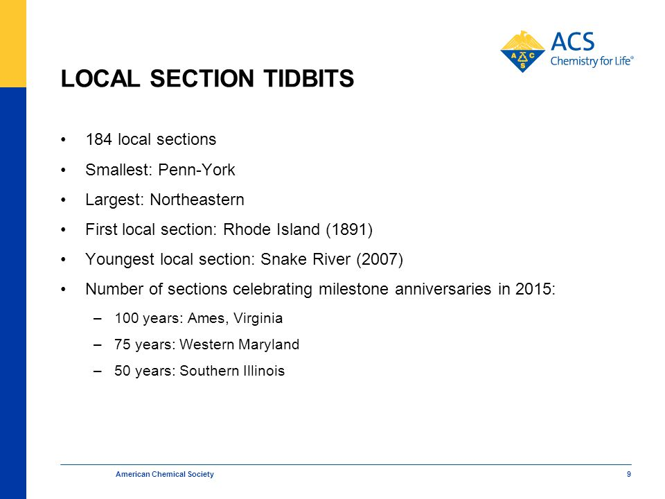 LOCAL SECTION TIDBITS 184 local sections Smallest: Penn-York Largest: Northeastern First local section: Rhode Island (1891) Youngest local section: Snake River (2007) Number of sections celebrating milestone anniversaries in 2015: –100 years: Ames, Virginia –75 years: Western Maryland –50 years: Southern Illinois American Chemical Society 9