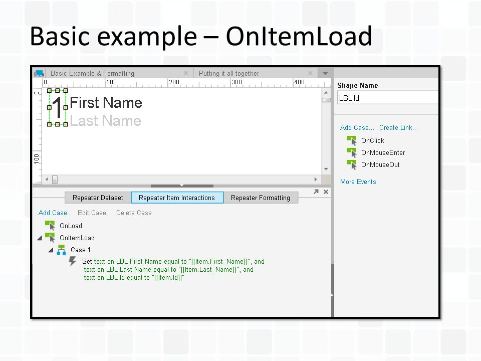 Basic example – OnItemLoad