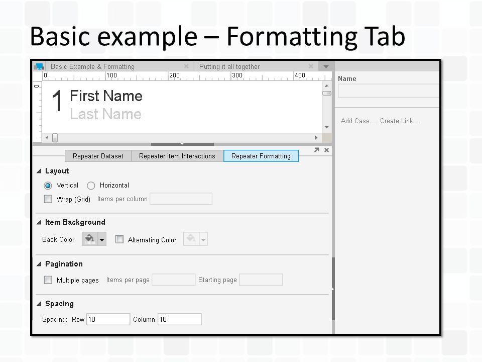 Basic example – Formatting Tab