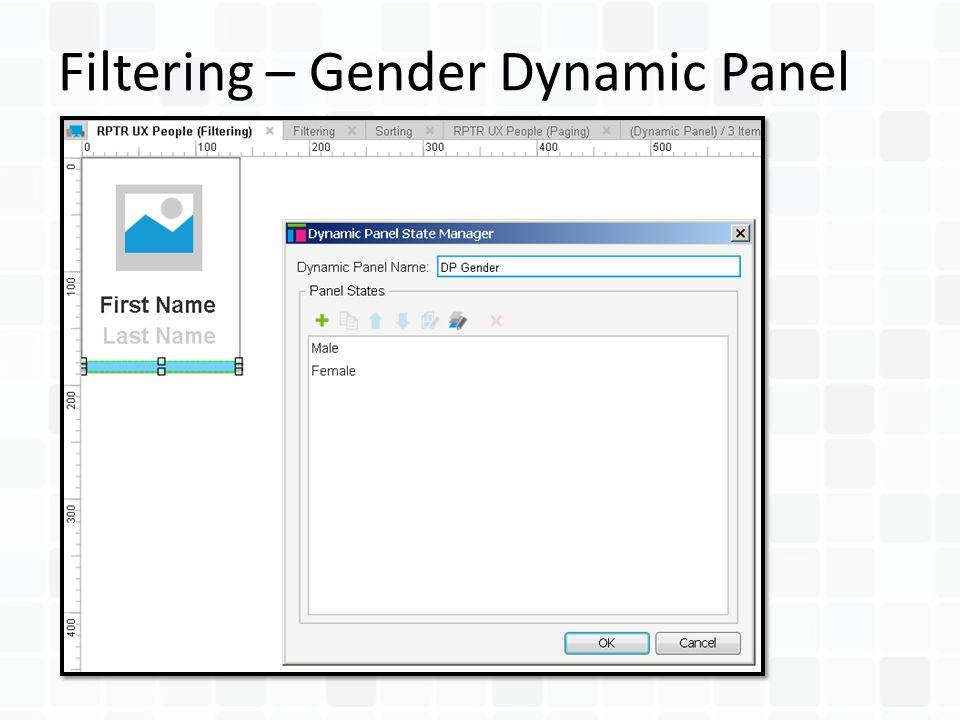 Filtering – Gender Dynamic Panel