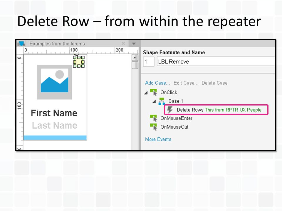 Delete Row – from within the repeater