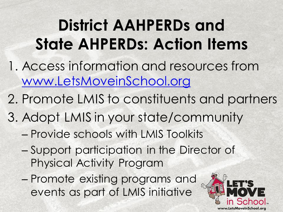 District AAHPERDs and State AHPERDs: Action Items 1.Access information and resources from www.LetsMoveinSchool.org www.LetsMoveinSchool.org 2.Promote