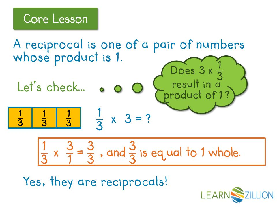 Let's Review Core Lesson 1 whole Let's check… Yes, they are reciprocals.