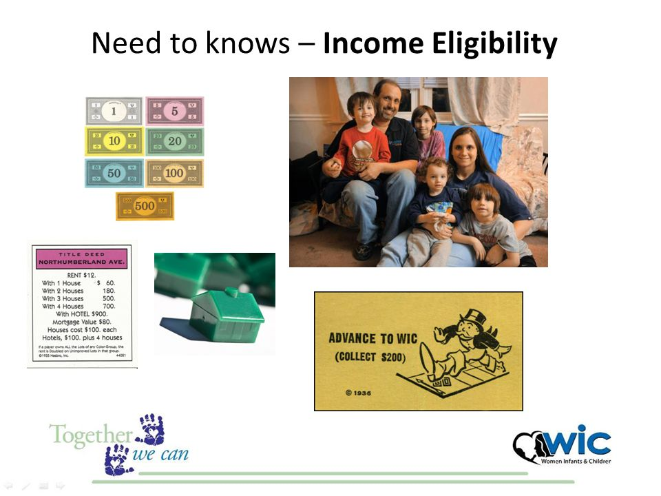 WIC Eligibility (USDA) Applicants must meet all of the following eligibility requirements: Categorical Residential Income Nutrition Risk