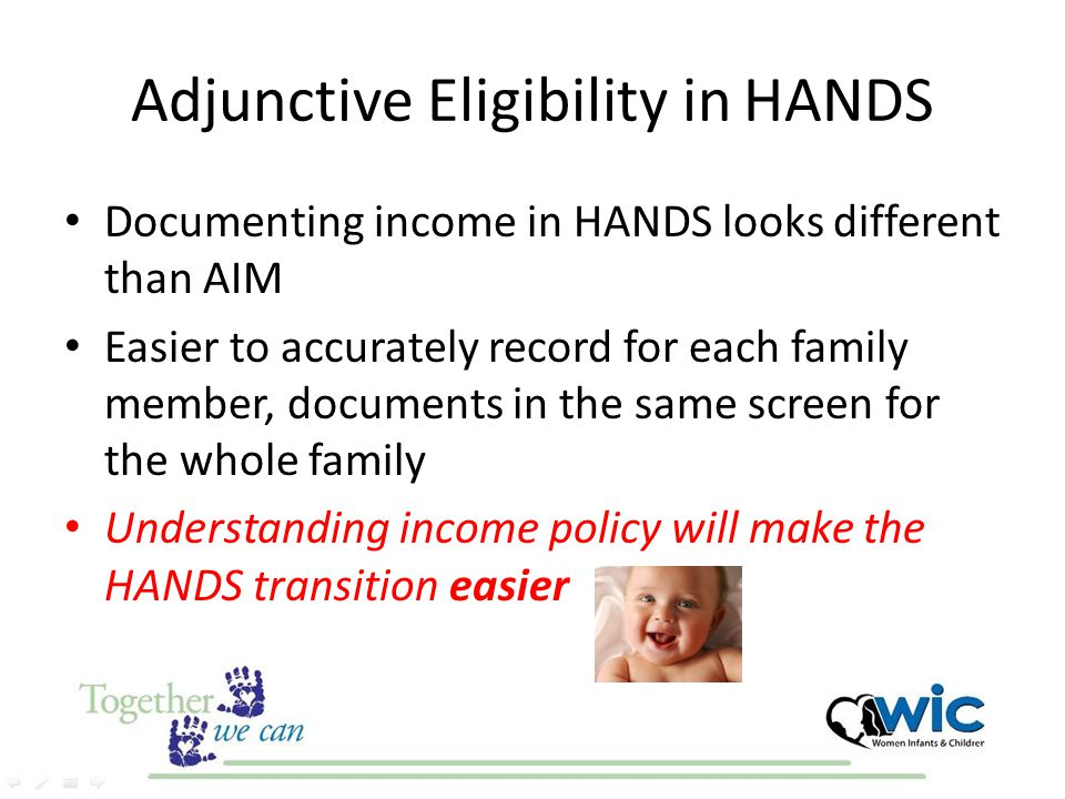 Adjunctive Eligibility in HANDS Documenting income in HANDS looks different than AIM Easier to accurately record for each family member, documents in