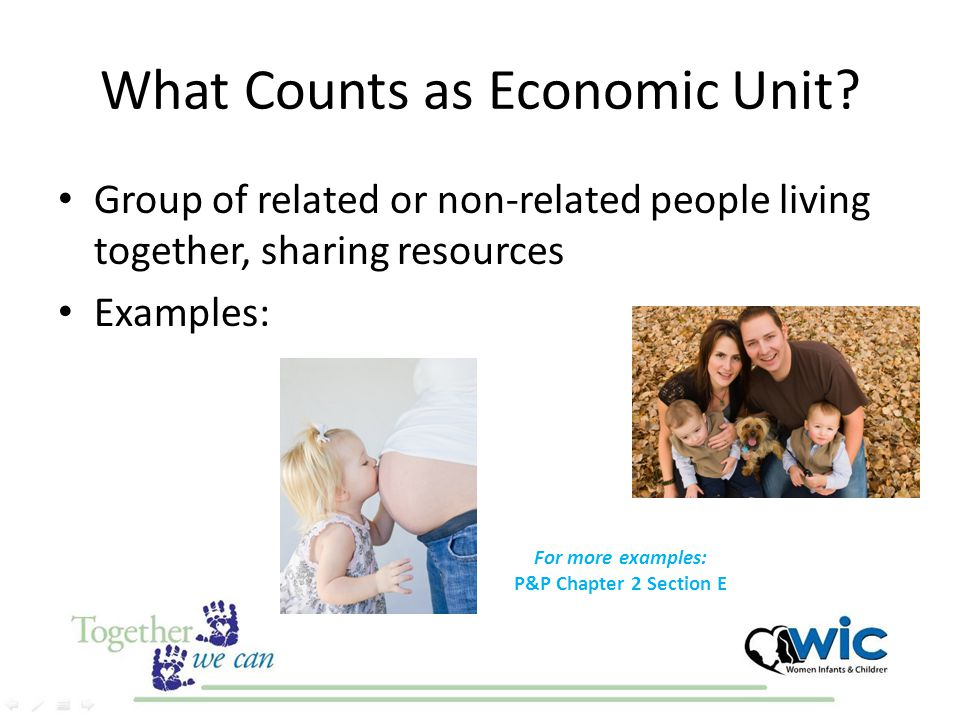 What Counts as Economic Unit? Group of related or non-related people living together, sharing resources Examples: For more examples: P&P Chapter 2 Sec