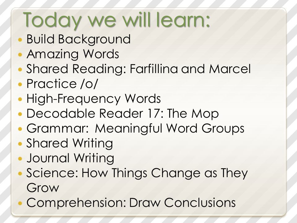 Today we will learn: Build Background Amazing Words Shared Reading: Farfillina and Marcel Practice /o/ High-Frequency Words Decodable Reader 17: The Mop Grammar: Meaningful Word Groups Shared Writing Journal Writing Science: How Things Change as They Grow Comprehension: Draw Conclusions