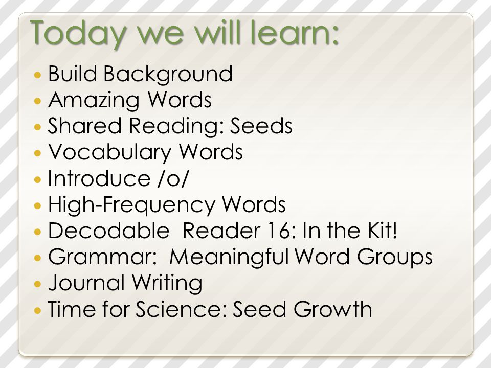 Today we will learn: Build Background Amazing Words Shared Reading: Seeds Vocabulary Words Practice /o/ High-Frequency Words Student Reader: Pop.
