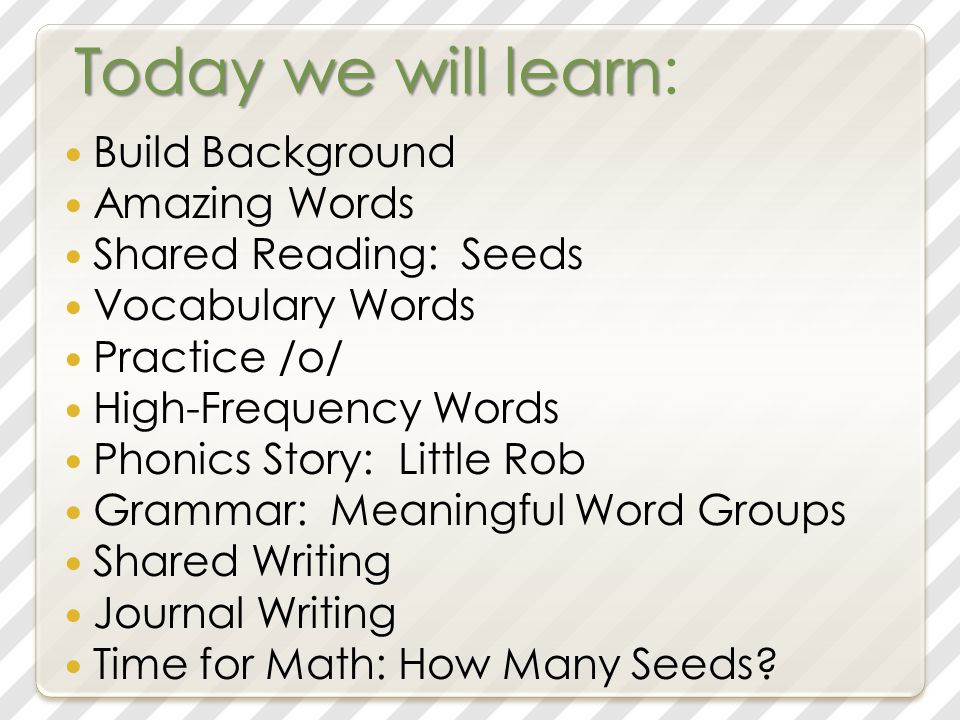Today we will learn Today we will learn: Build Background Amazing Words Shared Reading: Seeds Vocabulary Words Practice /o/ High-Frequency Words Phonics Story: Little Rob Grammar: Meaningful Word Groups Shared Writing Journal Writing Time for Math: How Many Seeds?