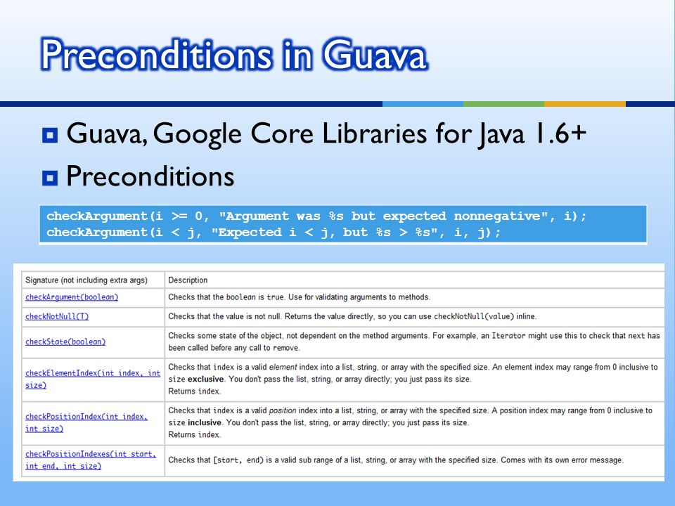  Guava, Google Core Libraries for Java 1.6+  Preconditions checkArgument(i >= 0, Argument was %s but expected nonnegative , i); checkArgument(i %s , i, j);