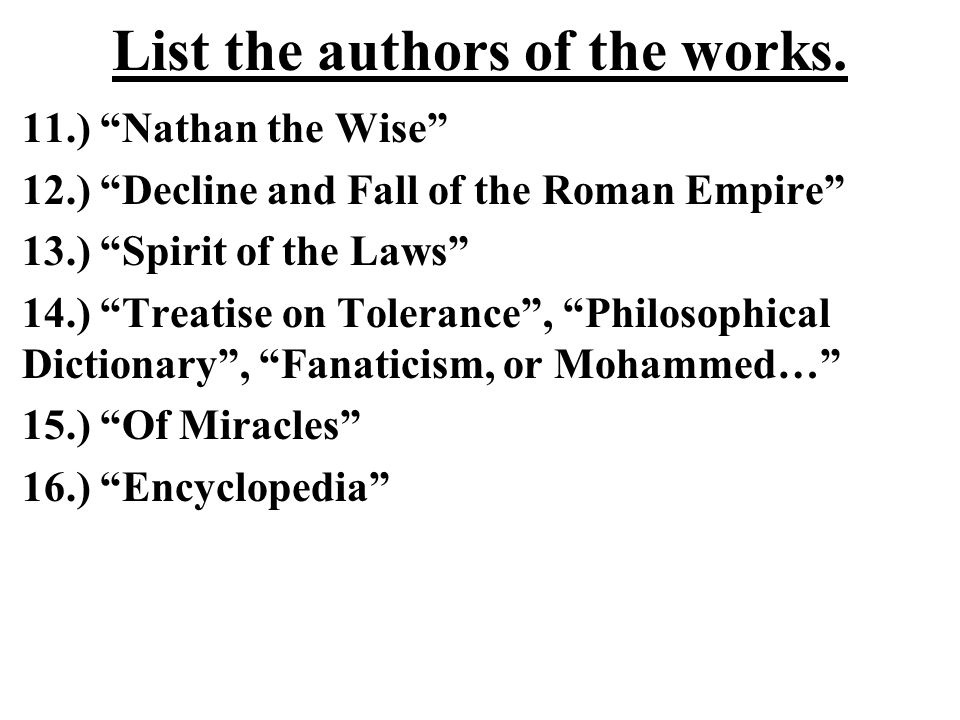 List the authors of the works.
