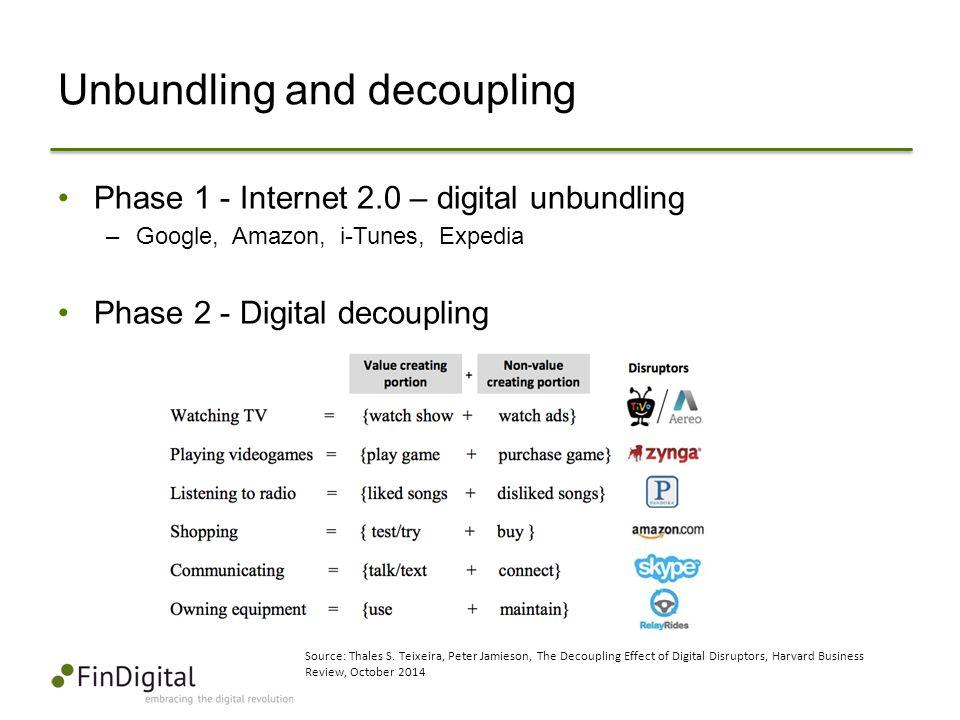 Unbundling and decoupling Phase 1 - Internet 2.0 – digital unbundling –Google, Amazon, i-Tunes, Expedia Phase 2 - Digital decoupling Source: Thales S.