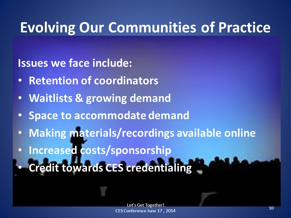 Evolving Our Communities of Practice Issues we face include: Retention of coordinators Waitlists & growing demand Space to accommodate demand Making materials/recordings available online Increased costs/sponsorship Credit towards CES credentialing Let s Get Together.