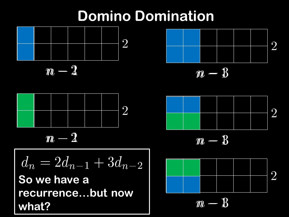 Domino Domination So we have a recurrence…but now what?