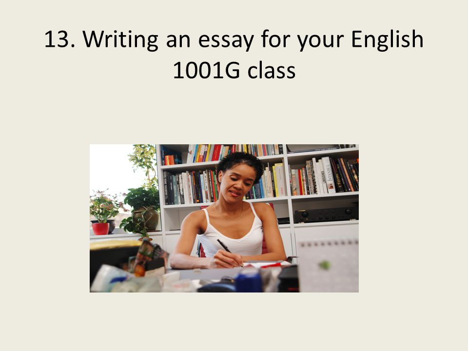 13. Writing an essay for your English 1001G class