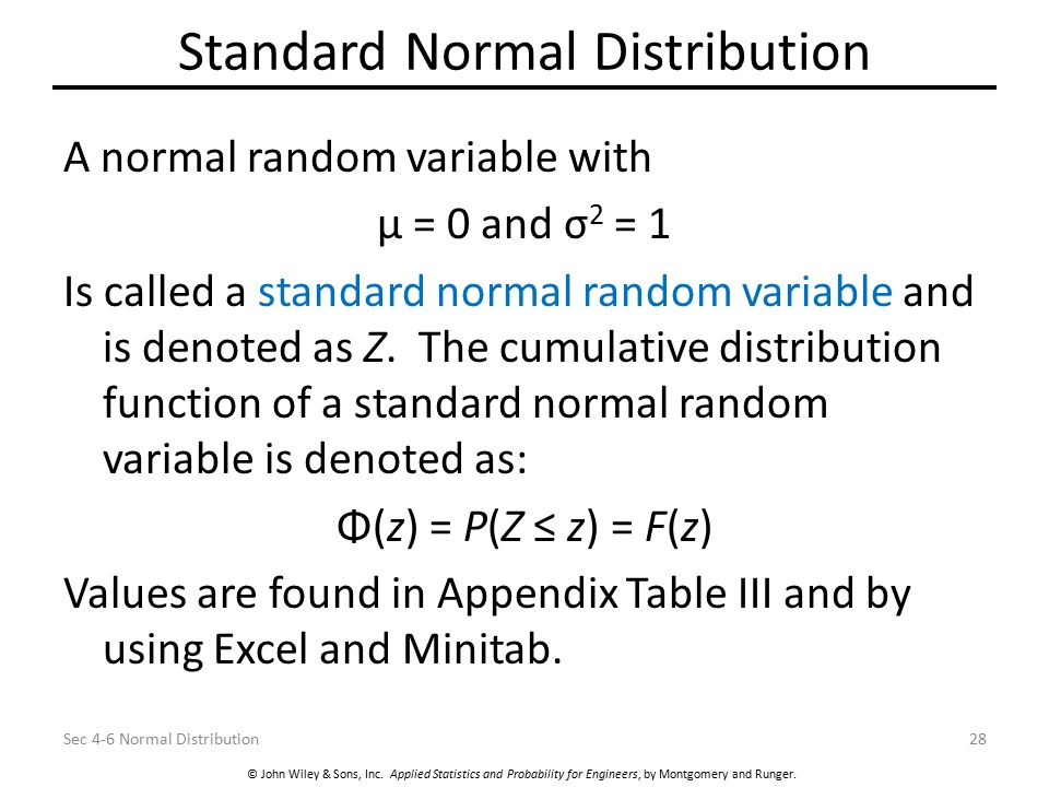 © John Wiley & Sons, Inc. Applied Statistics and Probability for Engineers, by Montgomery and Runger. Standard Normal Distribution A normal random var