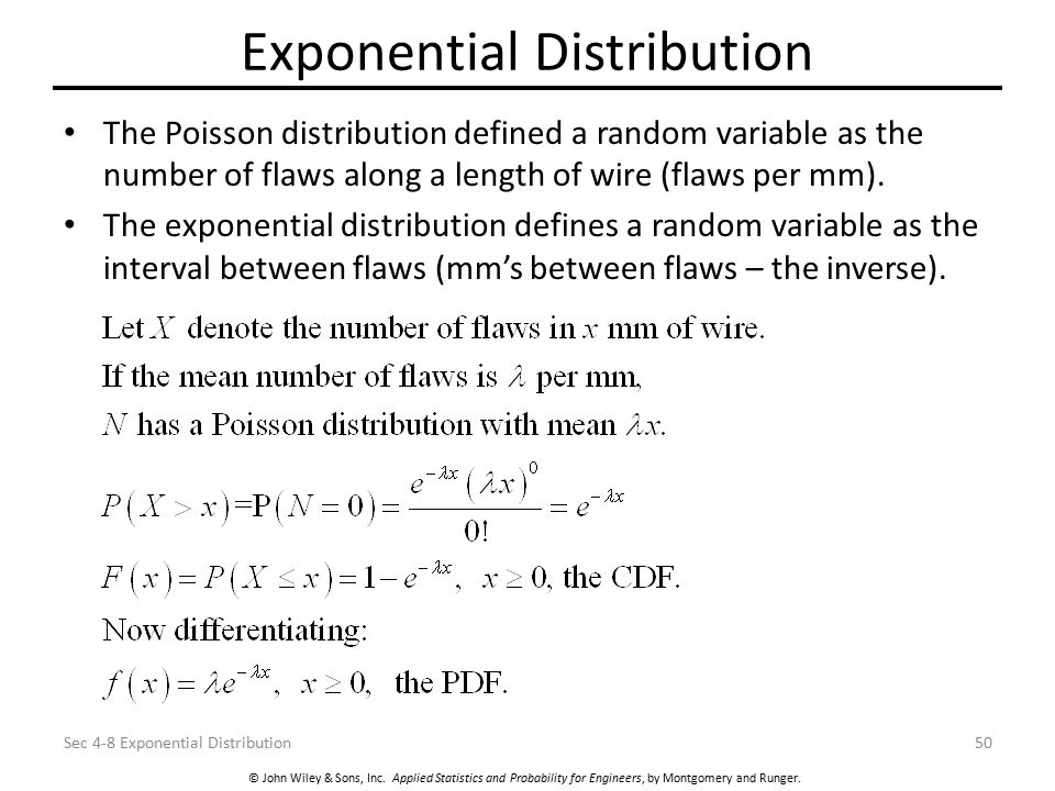 © John Wiley & Sons, Inc. Applied Statistics and Probability for Engineers, by Montgomery and Runger. Exponential Distribution The Poisson distributio