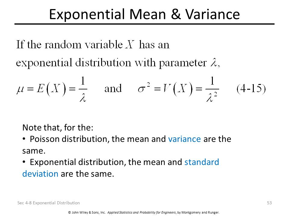 © John Wiley & Sons, Inc. Applied Statistics and Probability for Engineers, by Montgomery and Runger. Exponential Mean & Variance Sec 4-8 Exponential