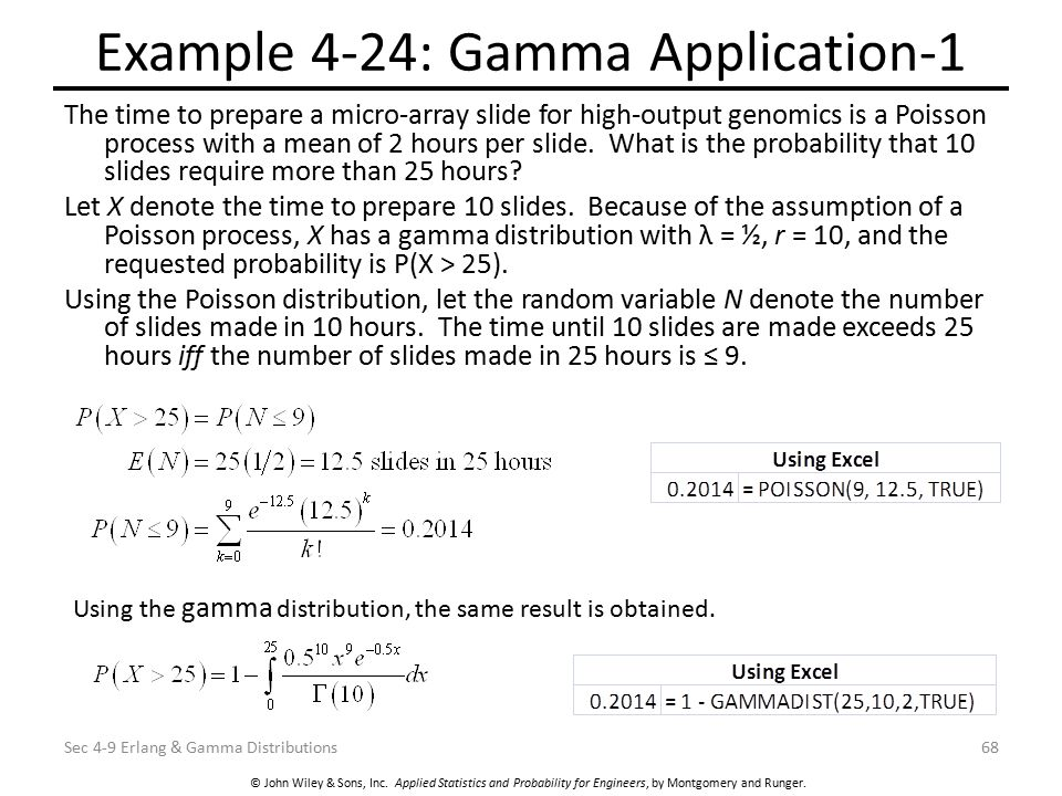 © John Wiley & Sons, Inc. Applied Statistics and Probability for Engineers, by Montgomery and Runger. Example 4-24: Gamma Application-1 The time to pr