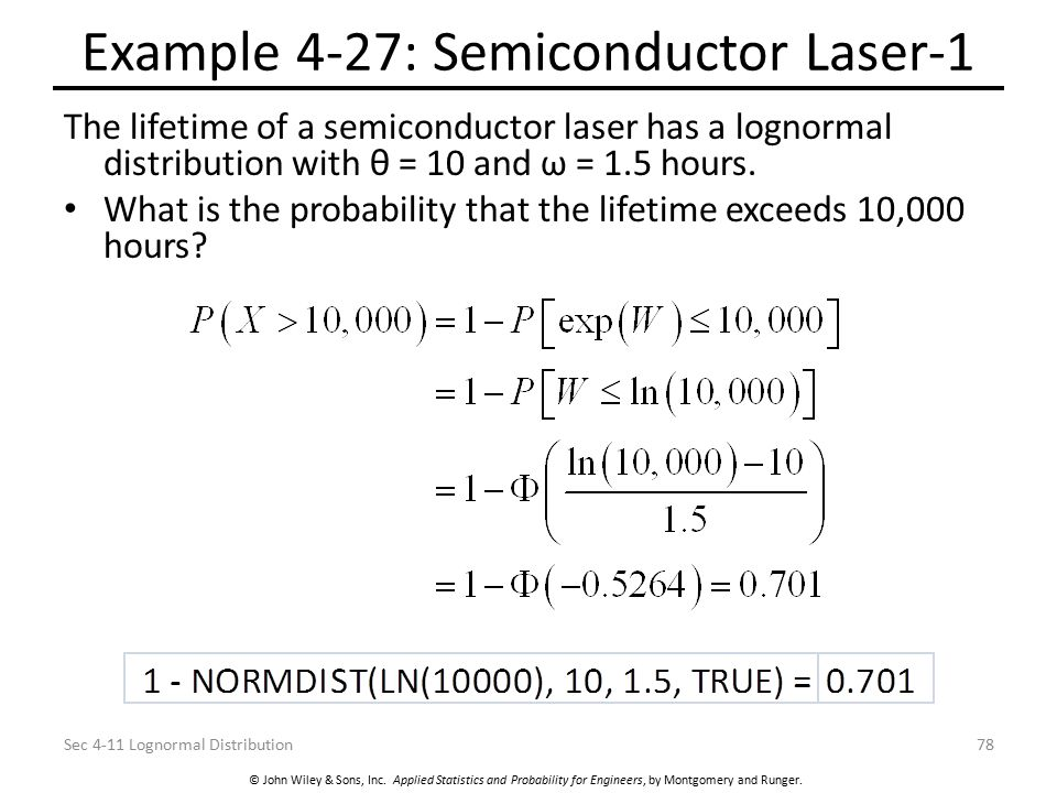 © John Wiley & Sons, Inc. Applied Statistics and Probability for Engineers, by Montgomery and Runger. Example 4-27: Semiconductor Laser-1 The lifetime
