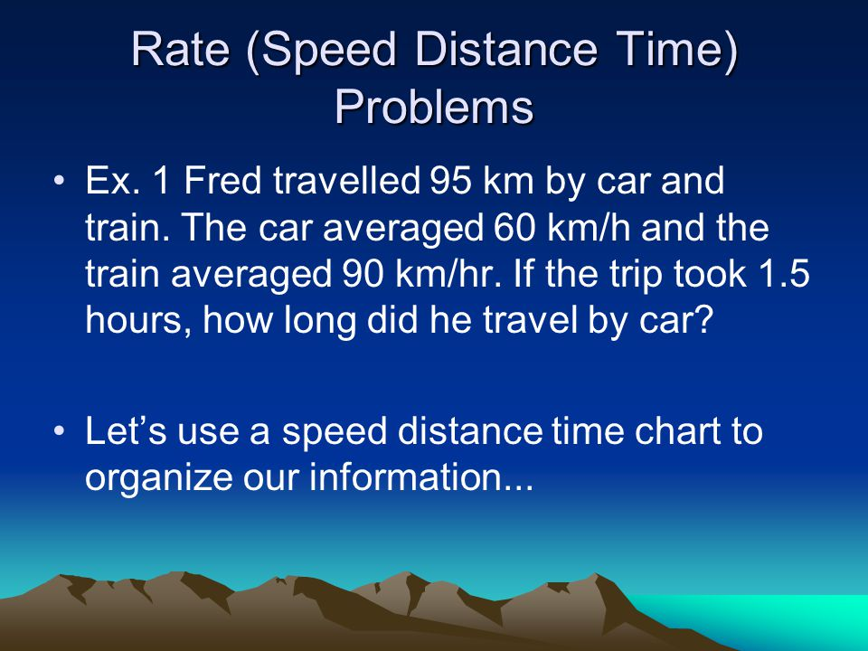 Rate (Speed Distance Time) Problems Ex. 1 Fred travelled 95 km by car and train.