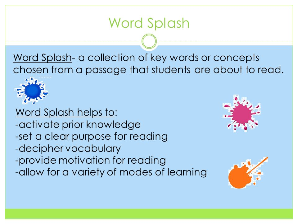 Word Splash Word Splash- a collection of key words or concepts chosen from a passage that students are about to read.