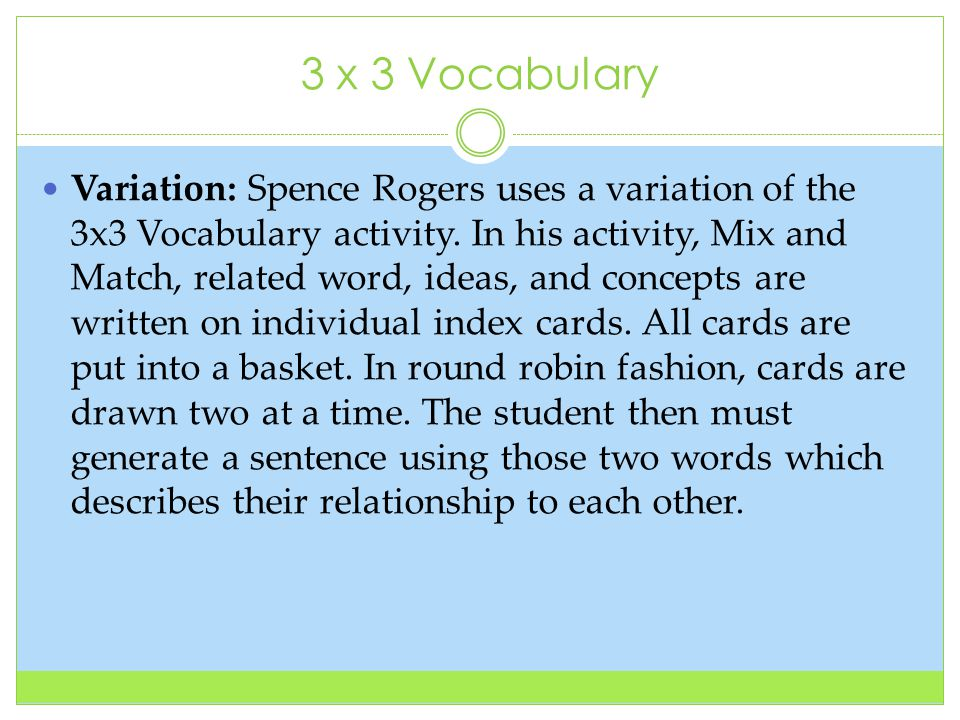3 x 3 Vocabulary Variation: Spence Rogers uses a variation of the 3x3 Vocabulary activity.