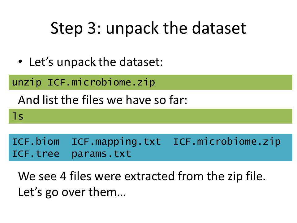 Step 3: unpack the dataset Let's unpack the dataset: And list the files we have so far: We see 4 files were extracted from the zip file. Let's go over