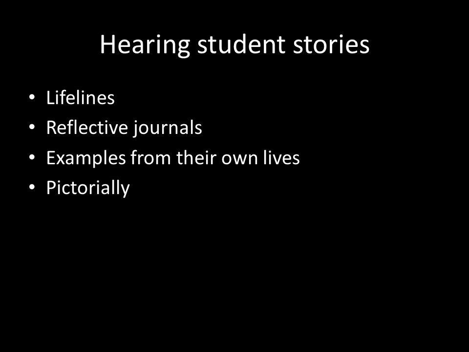 Hearing student stories Lifelines Reflective journals Examples from their own lives Pictorially