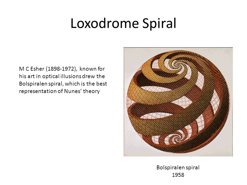 Loxodrome Spiral M C Esher (1898-1972), known for his art in optical illusions drew the Bolspiralen spiral, which is the best representation of Nunes'