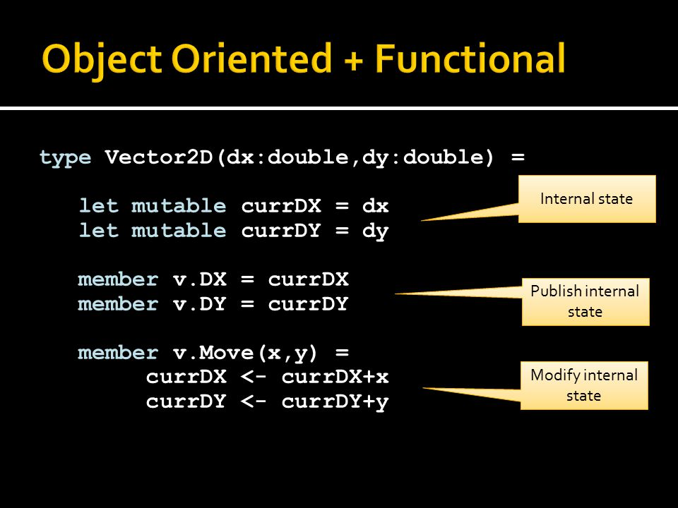 type Vector2D(dx:double,dy:double) = let mutable currDX = dx let mutable currDY = dy member v.DX = currDX member v.DY = currDY member v.Move(x,y) = cu