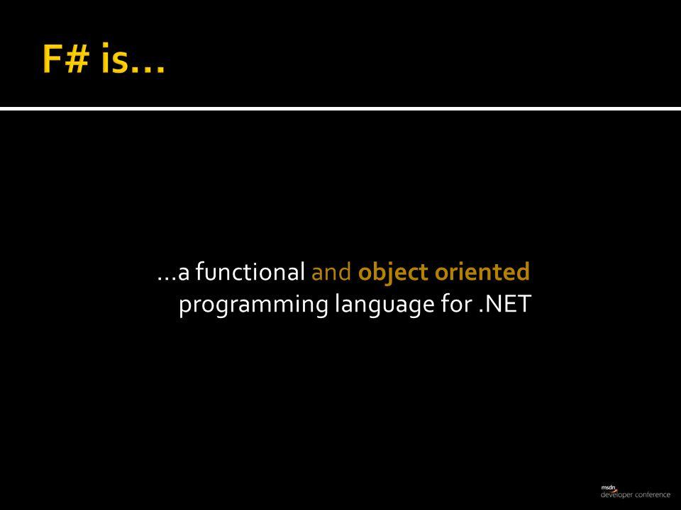  On the Web http://fsharp.net/ http://research.microsoft.com/fsharp Don Syme - http://blogs.msdn.com/dsymehttp://blogs.msdn.com/dsyme Luke Hoban - http://blogs.msdn.com/lukehhttp://blogs.msdn.com/lukeh  Community http://cs.hubfs.net  F# Samples http://code.msdn.microsoft.com/fsharpsamples