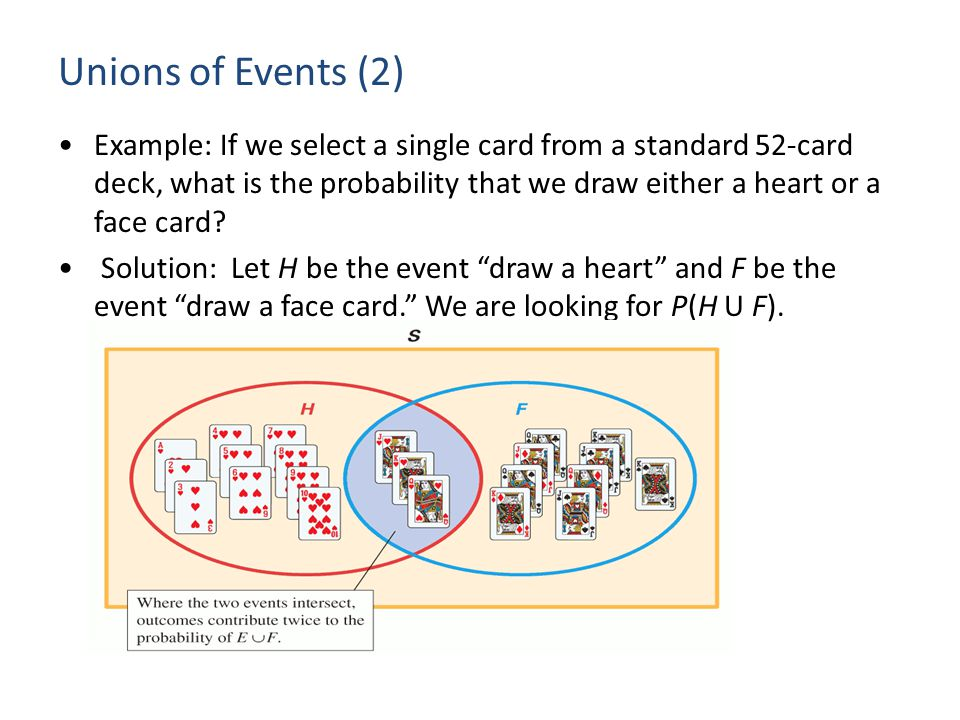 Unions of Events (2) Example: If we select a single card from a standard 52-card deck, what is the probability that we draw either a heart or a face c