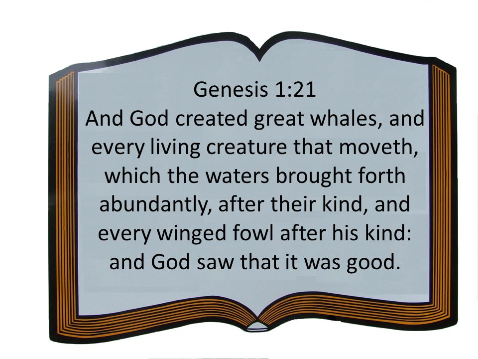Genesis 1:21 And God created great whales, and every living creature that moveth, which the waters brought forth abundantly, after their kind, and eve