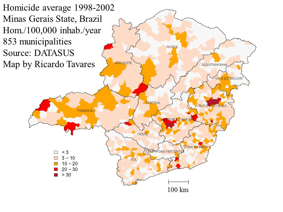 Homicide average 1998-2002 Minas Gerais State, Brazil Hom./100,000 inhab./year 853 municipalities Source: DATASUS Map by Ricardo Tavares 100 km