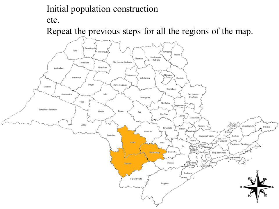 Initial population construction etc. Repeat the previous steps for all the regions of the map.