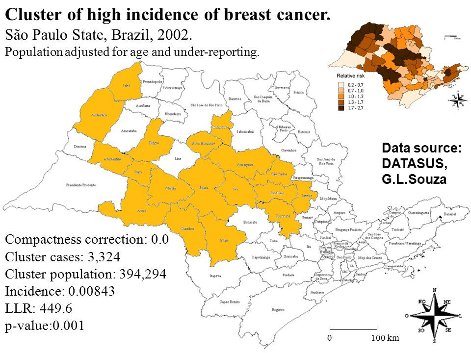 0 100 km Compactness correction: 0.0 Cluster cases: 3,324 Cluster population: 394,294 Incidence: 0.00843 LLR: 449.6 p-value:0.001 Data source: DATASUS, G.L.Souza Cluster of high incidence of breast cancer.