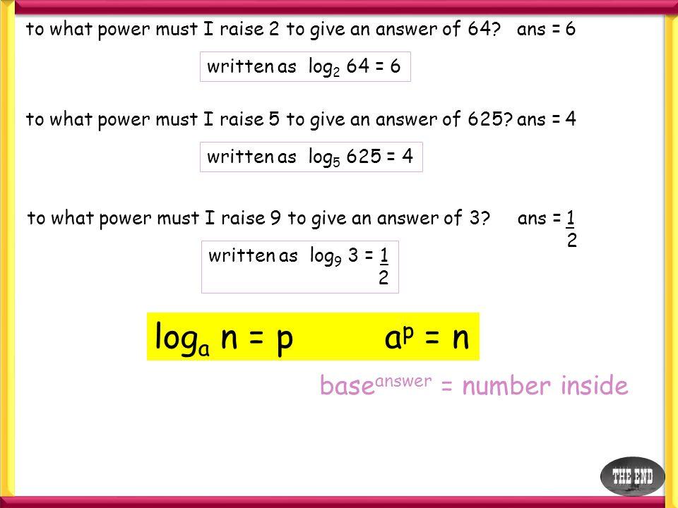 1.log a m + log a n = log a mn 2.log a m - log a n = log a m n 3.n log a m = log a m n 4.log n m = log a m change of base law log a n N.B.