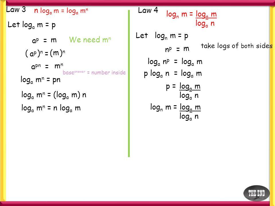 e.g.1 log 4 64 = x base answer = number inside 4 x =64 4x4x =4343 x = 3 e.g.2 log 2 x = 5 2525 = x x =32 e.g.3 log 4 (5x + 6) = 2 4242 = 5x + 6 16= 5x + 6 10= 5x 10 5 = x 2