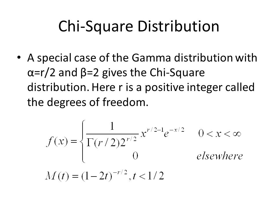 Chi-Square Distribution A special case of the Gamma distribution with α=r/2 and β=2 gives the Chi-Square distribution.