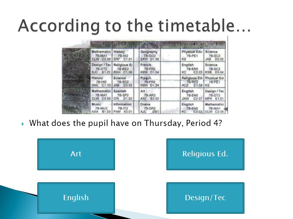  What does the pupil have on Thursday, Period 4? ArtReligious Ed. Design/TecEnglish