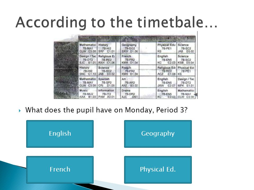  What does the pupil have on Monday, Period 3? EnglishGeography Physical Ed.French