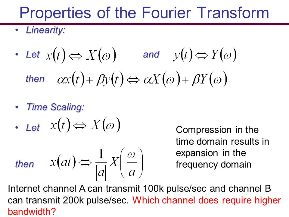 Properties of the Fourier Transform Linearity:Linearity: Let andLet and then then Time Scaling:Time Scaling: LetLetthen Compression in the time domain