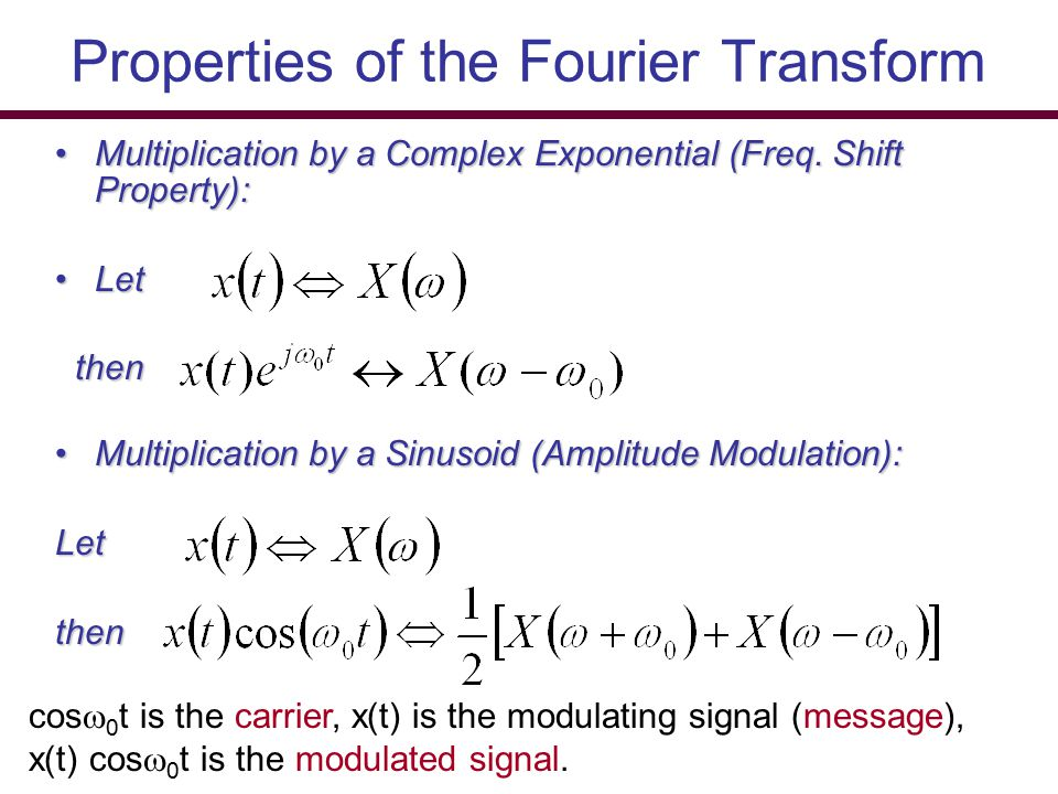 Properties of the Fourier Transform Multiplication by a Complex Exponential (Freq. Shift Property):Multiplication by a Complex Exponential (Freq. Shif