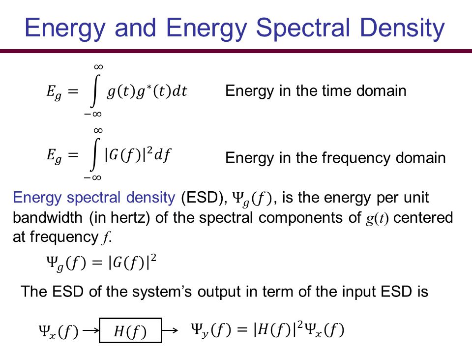 Energy and Energy Spectral Density Energy in the time domain Energy in the frequency domain The ESD of the system's output in term of the input ESD is