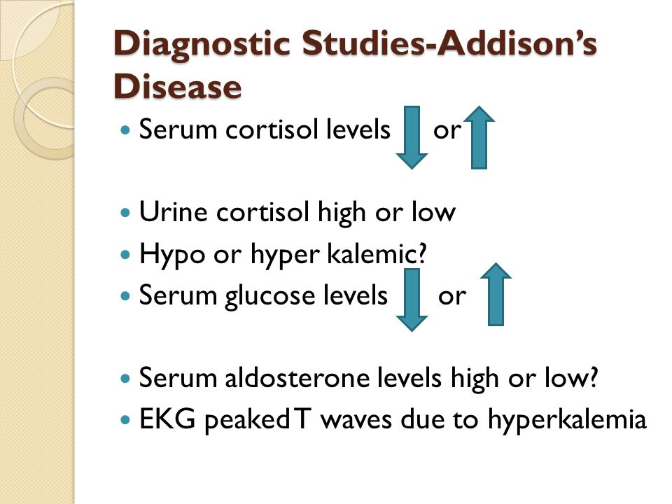 Diagnostic Studies-Addison's Disease Serum cortisol levels or Urine cortisol high or low Hypo or hyper kalemic.